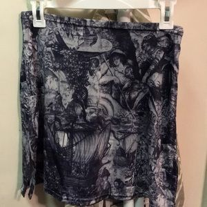 Awesome vintage skirt with Medieval type print